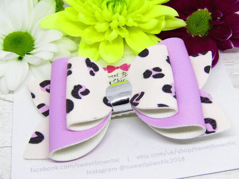 Hair Slide Gift for Girls Summer Bows Girls Hair Accessory Pink Animal Print Hair Bow Birthday Gift