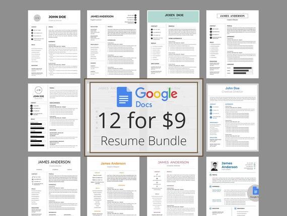Resume Bundle Docs Creative Google Docs Resume Template Google Docs Resume Template Instant Download Google Docs Cv Creative Resume