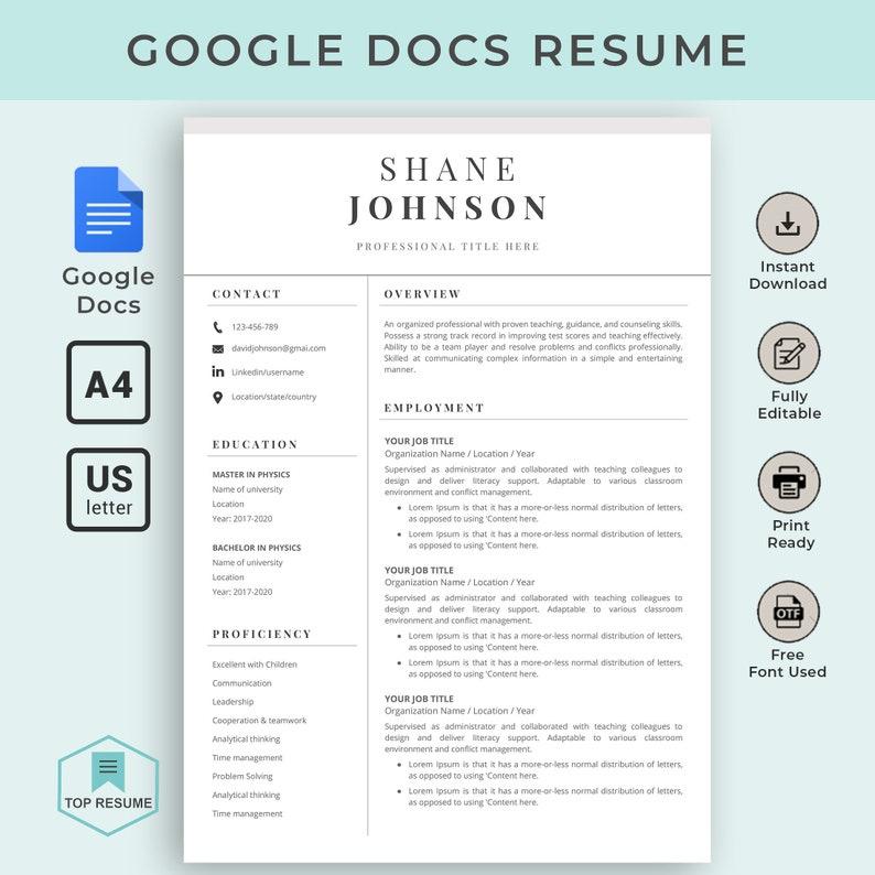 Google Docs Resume, Google Docs Resume Template, Creative Resume Template,  Instant Download, CV, Resume Template Google Docs, Cover Letter