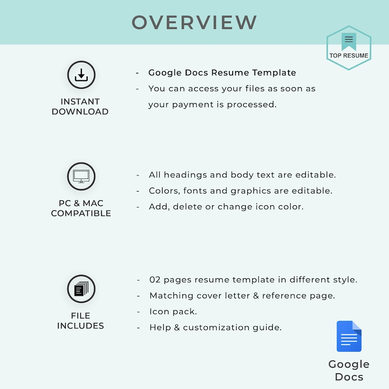 Google Docs Resume, Google Docs Resume Template, Teacher Resume Template,  Instant Download, CV, Resume Template Google Docs, Cover Letter