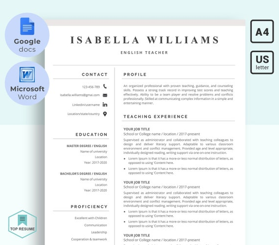 Ms Word And Google Docs Resume Template For Teacher Educational And Academic Cv Cover Letter Reference Letter Instant Download Resume