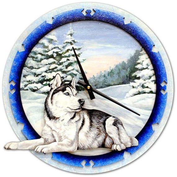 Dog Christmas Gift Siberian Husky Dog Birthday Gift Dog Wall Clock Unique Dog Gift Dog Lover Gift Dog Name Gift Wooden Dog Gift A310