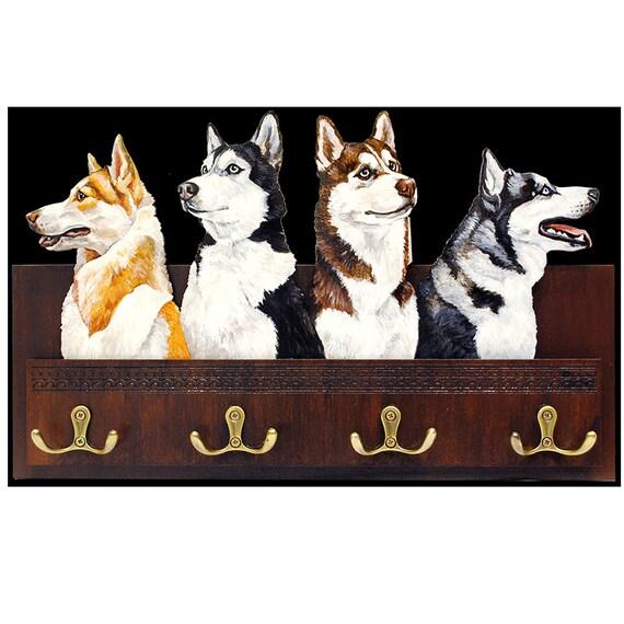 Dog Leash Hanger Husky Siberian Husky Black White Dog Orange Etsy