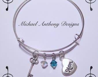 Key to Moms Heart Bangle Bracelet - Choose Your Swarovski birthstones