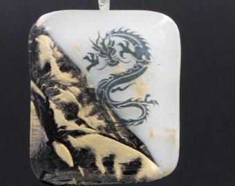 Yin Yang Dragon Fused Glass Pendant