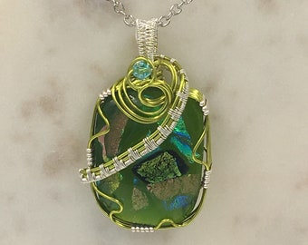 Wire Woven Fused Glass Dichroic Pendant