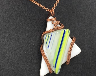 Fused Glass Triangle Wire Wrapped Pendant