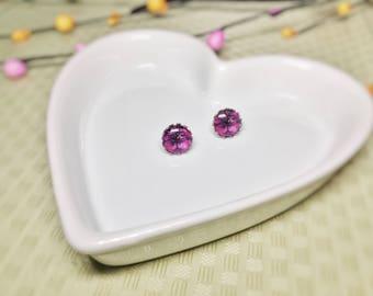 Ultra Violet 12mm Glass Stud Earrings