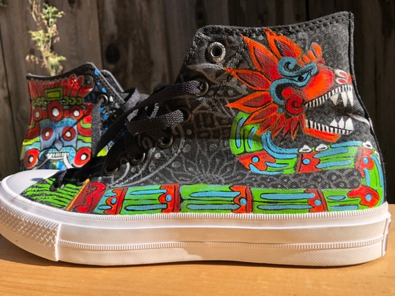 Hand painted Converse Chuck Taylors ll Aztec customized size 9