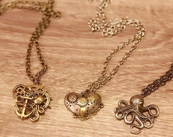 Steampunk Necklace- Nautical-Octopus-Kraken-Anchor-Heart-Gears