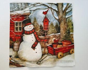 Snowman ~ Decoupage Napkins ~ Set of 3 ~ Papercrafts ~ Ephemera