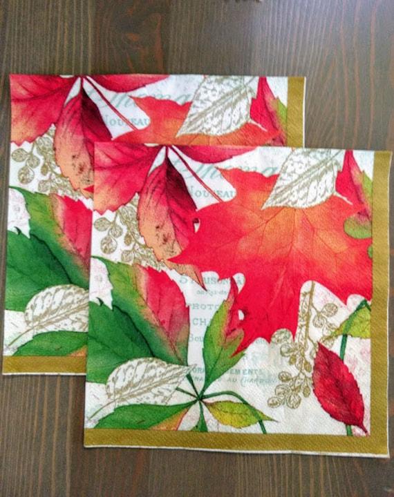 Set of 2 Autumn Leaves Decoupage Napkins/Colorful Leaves Decoupage  Napkins/Fall and Autumn theme Paper Napkins