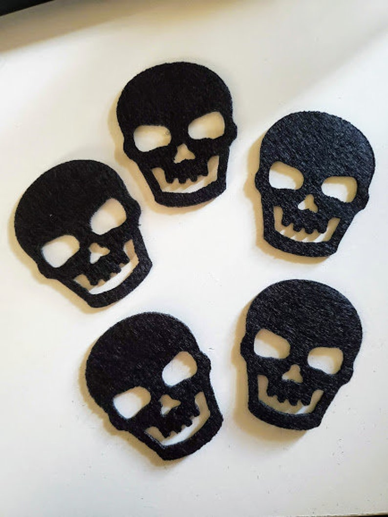 Set of 5 Heavy Black Felt Skull Die CutsFelt Halloween Die CutsFelt Skull Embellishments