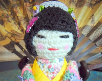 Amigurumi Crocheted Kokeshi Doll