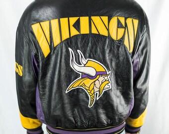 Vintage 90s NFL Minnesota Vikings Leather Jacket Size M 1b5ee39f3