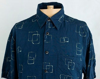 90s Abstract print cropped shirt\u2022Womens vintage long sleeve shirt\u2022Button up shirt\u202290s clothing\u2022Womens blouse\u2022Vintage womens collar shirt