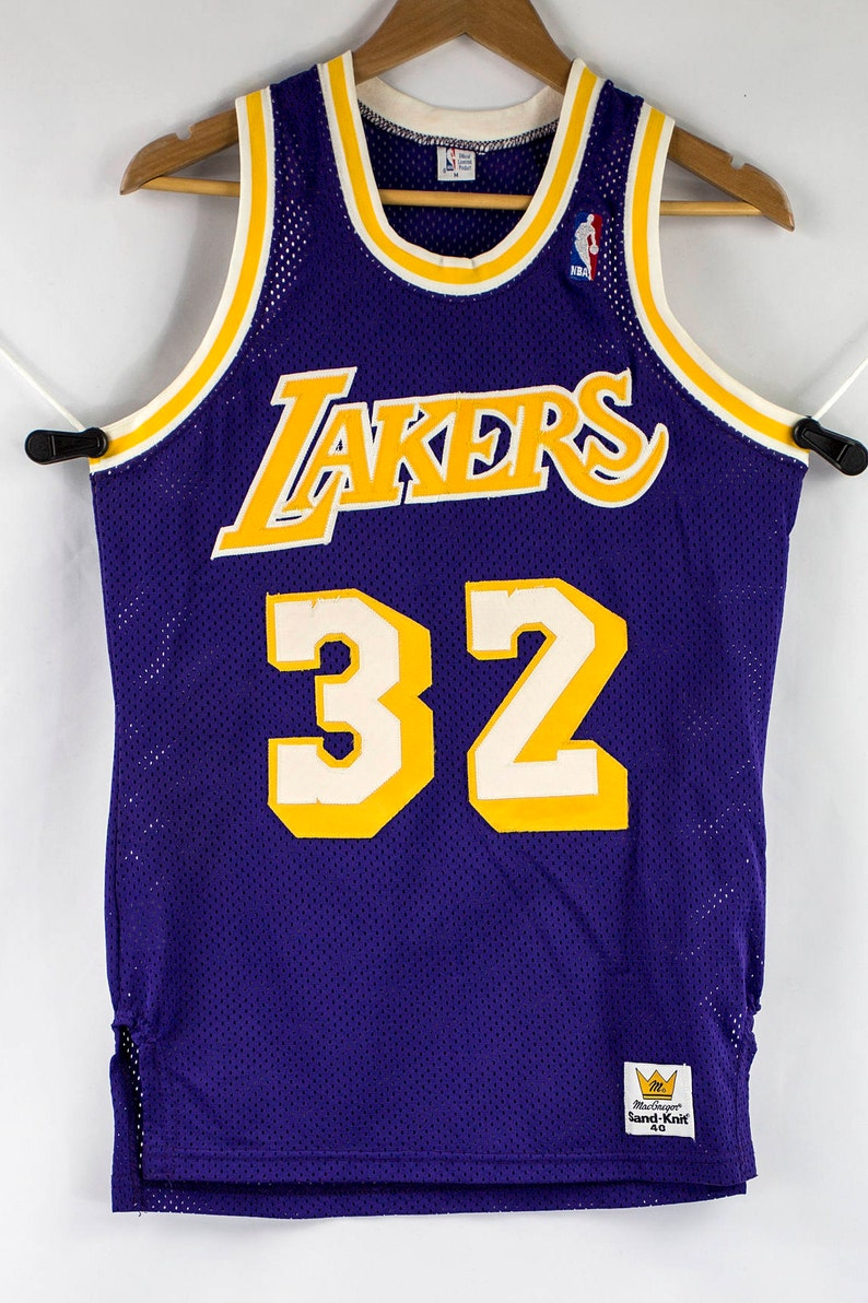 Vintage 80s MacGregor Sand-Knit Sewn Magic Johnson LA Lakers NBA Jersey  Size M 4... Vintage 80s MacGregor Sand-Knit Sewn Magic Johnson LA Lakers  NBA Jersey ... 1a40c9149