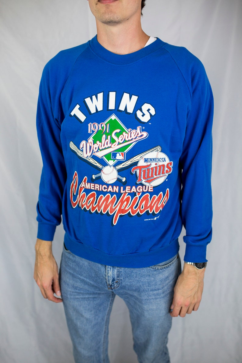 designer fashion bfbf4 10dcb Vintage 1991 MLB Minnesota Twins World Series American League Champions  Crewneck Sweatshirt Size XL