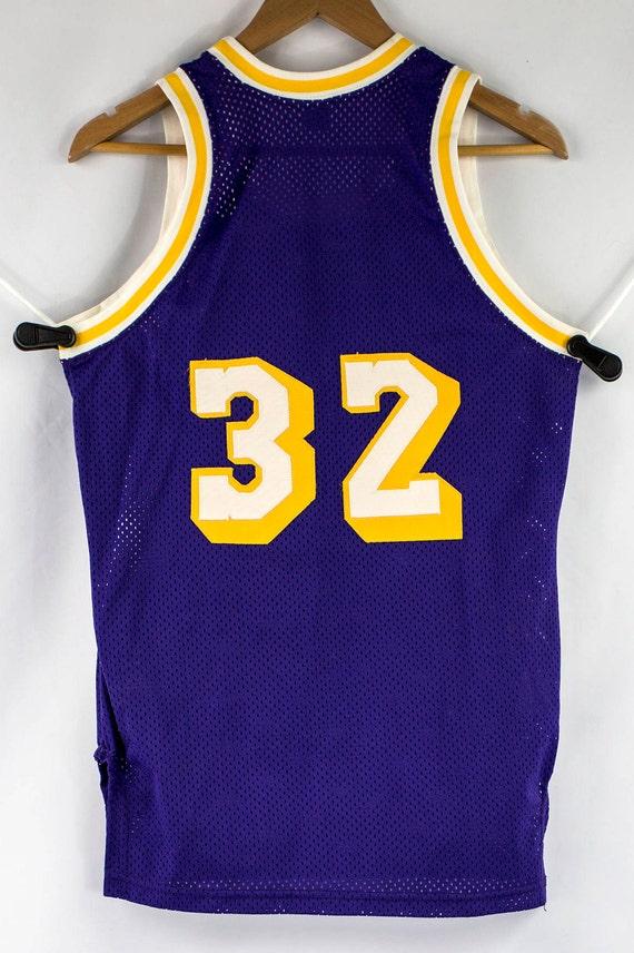 Vintage 80s MacGregor Sand-Knit Sewn Magic Johnson LA Lakers  4953e3ef2