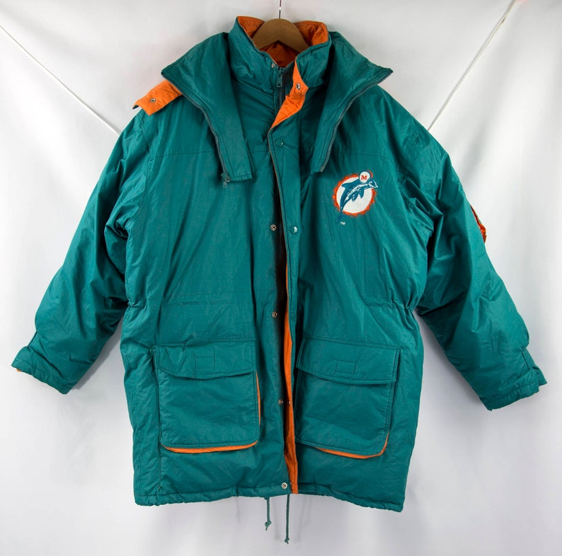 separation shoes 4298f d64b5 Vintage 90s NFL Miami Dolphins Down-Filled Sideline Parka Size XL