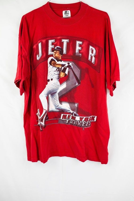 the best attitude ce5a9 46fd7 Vintage 90s Starter Derek Jeter New York Yankees T-Shirt Size L