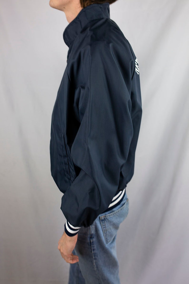 Vintage 80s New Auburn Wisconsin American Legion Post 267 Full Zip Bomber Jacket Size Large Navy Blue Made in USA
