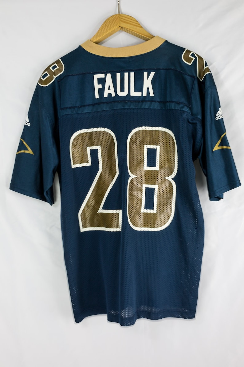 check out 0762e 5e745 Vintage 90s Adidas NFL St. Louis Rams Marshall Faulk Jersey Size M
