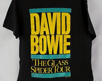 Vintage 1987 David Bowie Glass Spider Tour T-Shirt Size L