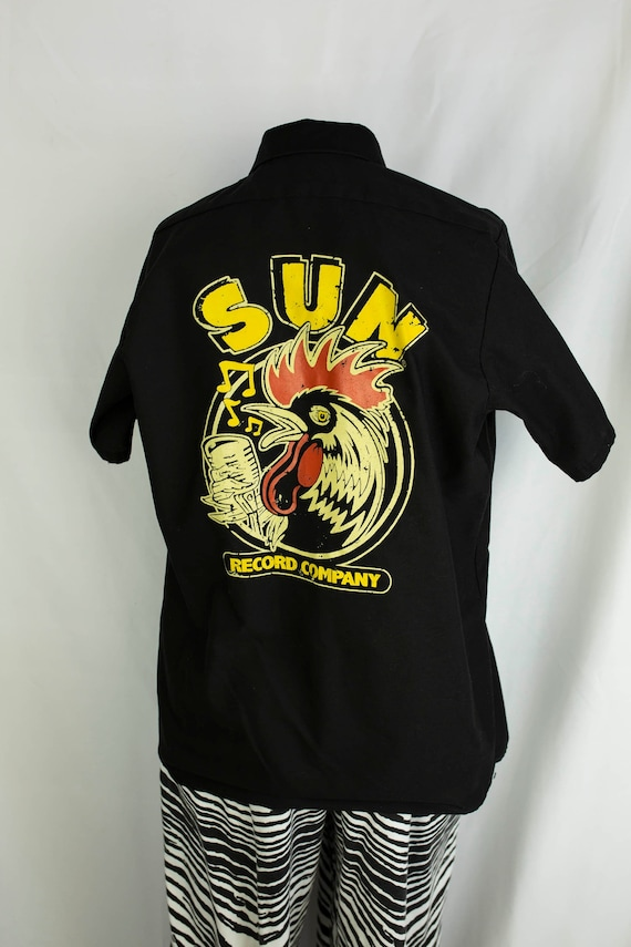Vintage Sun Records Rooster Short Sleeve Button Do