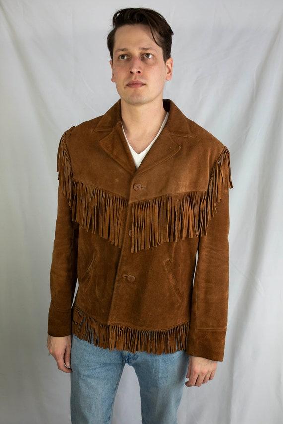 Vintage 70s Berman's Suede Leather Western Fringed