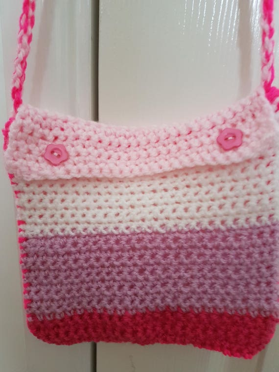 Crochet Girls Bag Pinks and White  3b5d14aae216a