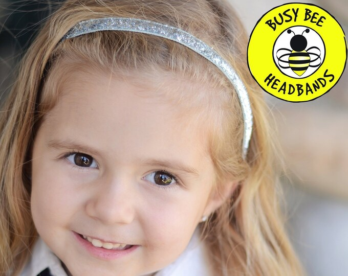 """Free Shipping! SILVER SPARKLE  (3/8"""" 5/8"""" 7/8"""" widths) Adjustable Nonslip Headband / Busy Bee Headbands / Fits 2 yrs to Adult / Athletic"""