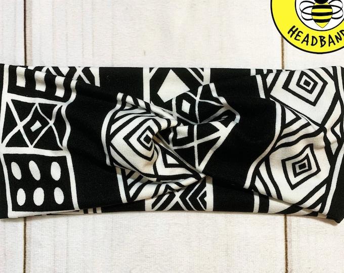 BLACK WHITE AZTEC Headband, Top Knot Headband, Twisted Headband, Turban Headband, Wide Headband, Button Headband