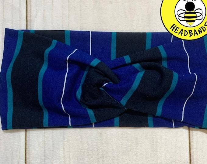 NAVY & BLUE STRIPES Headband, Top Knot Headband, Twisted Headband, Turban Headband, Wide Headband, Nurse Button Headband