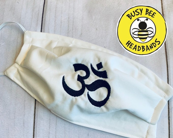 NAMASTE Face Mask / YOGA Face Mask / OHM Face Mask / Meditation Themed Mask / Custom Mask / Gift for Yogis / Personalized Mask