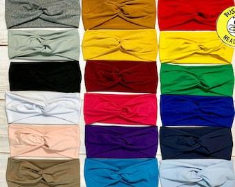 BLACK GREY WHITE & More Colors! Twist Headband, Turban Headband, Wide Headband, Workout Headband, Nurse Button Headband