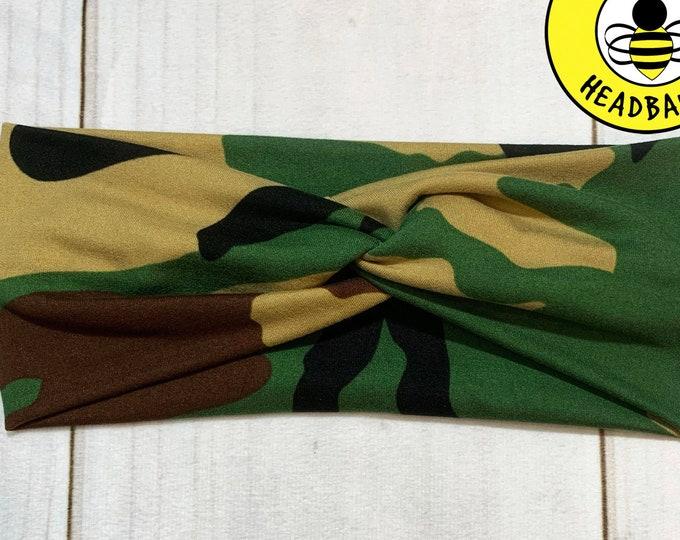 GREEN CAMOFLAUGE CAMO Headband, Top Knot Headband, Twisted Headband, Turban Headband, Wide Headband, Button Headband