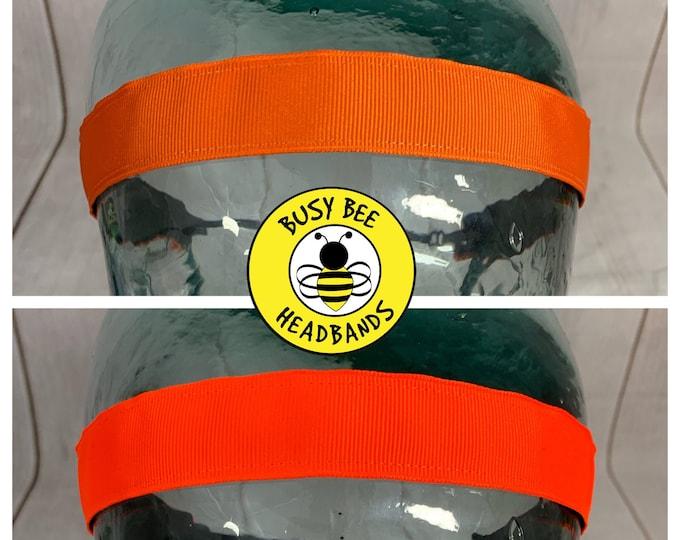 "Button Headband for Mask 7/8"" ORANGE Headbands / Neon Orange Headband /  / Nonslip Headband / Adjustable NEON Headband /"