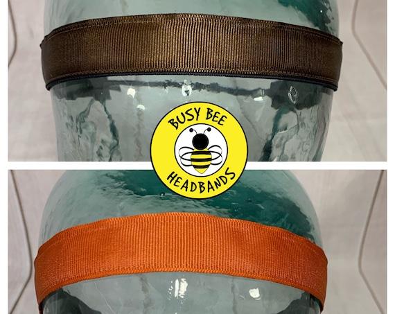 """7/8"""" SOLID BROWN Headbands / Running Headband / Nonslip Headband / Adjustable Running Headband / Conservative Headband / Busy Bee Headbands"""