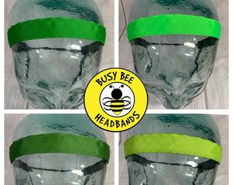 "Button Headband for Mask 7/8"" SOLID GREEN Headband /  / Nonslip Headband / Adjustable Headband / Workout Headband / Exercise / by"