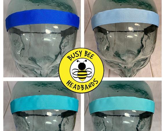 "7/8"" SOLID BLUE Headband / Turquoise Headband / Navy Headband / Light Blue Teal Headband /Adjustable Nonslip Headband / Busy Bee Headbands"