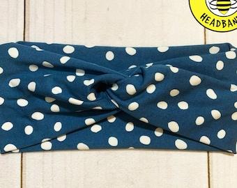 BLUE WHITE DOT Headband, Top Knot Headband, Twisted Headband, Turban Headband, Wide Headband, Button Headband