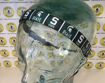 "MICHIGAN STATE (7/8"" width) Adjustable Nonslip Headband / Busy Bee Headbands / Fits 2 yrs to Adult / Athletic busybeeheadbands.com"