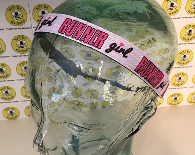 "Free Shipping! RUNNER GIRL  (7/8"" width) Adjustable Nonslip Headband / Busy Bee Headbands / Fits 2 yrs to Adult / Athletic"