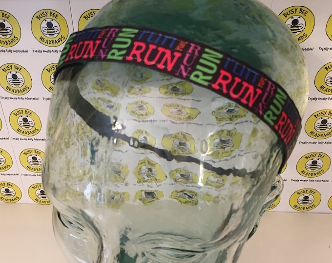 "Free Shipping! RUN RUN RUN  (7/8"" width) Adjustable Nonslip Headband / Busy Bee Headbands / Fits 2 yrs to Adult / Athletic"