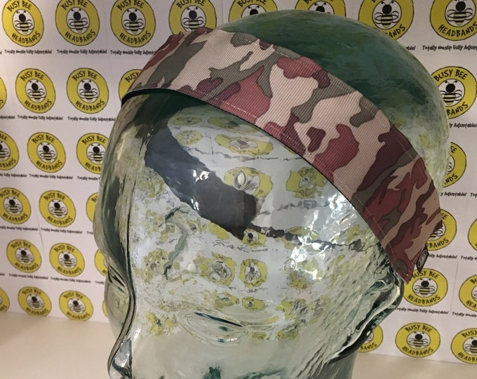 """Free Shipping! CAMO PRINT  (1.5"""" width) Adjustable Nonslip Headband / Busy Bee Headbands / Fits 2 yrs to Adult / Athletic"""