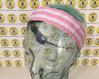 "Free Shipping! PINK and WHITE STRIPES  (1.5"" width) Busy Bee Headbands Adjustable Non-Slip Headband for Women and Girls Athletic"