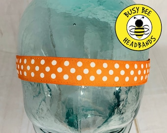 "Button Headband for Mask 7/8"" ORANGE POLKA DOT Headband /  / Nonslip Headband / Adjustable Workout Headband / Orange Headband /"