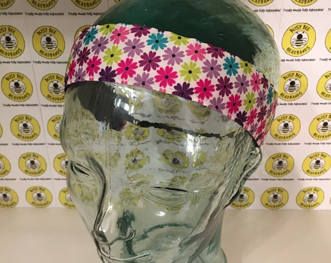 """COLORFUL DAISY FLOWERS  (1.5"""" width) Adjustable Nonslip Headband / Busy Bee Headbands / Fits 2 yrs to Adult / Athletic"""