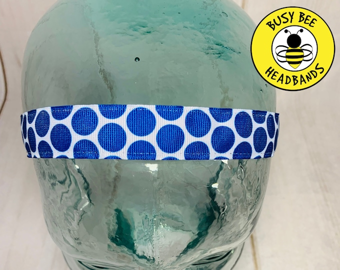 "7/8"" Big BLUE POLKA DOT Headband / Adjustable Nonslip Headband / Button Headband Option by Busy Bee Headbands"